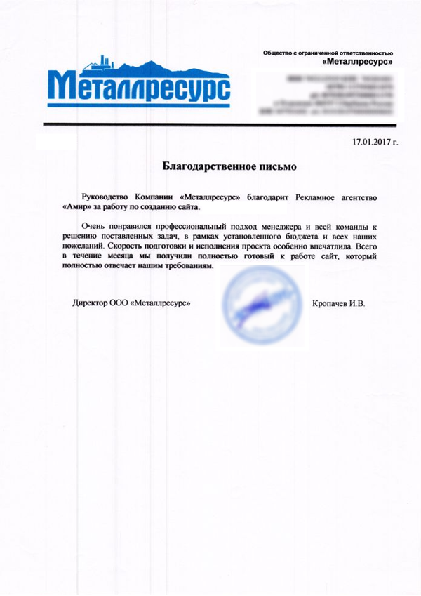 Otziv IT Agentstvo Amir Chelyabinsk